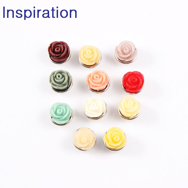 20pcs Colorful Rose Mixed Snap Button Jewelry 12mm Snap Button Jewelry For Snaps Bracelet Snap Jewelry image