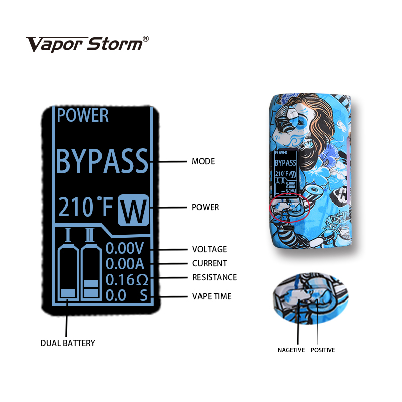 200W Vapor Storm Storm 230 Bypass TC Box Mod Vapes Fashion Mod Support Dual 18650 Battery Electronic Cigarette RDA RBA RDTA