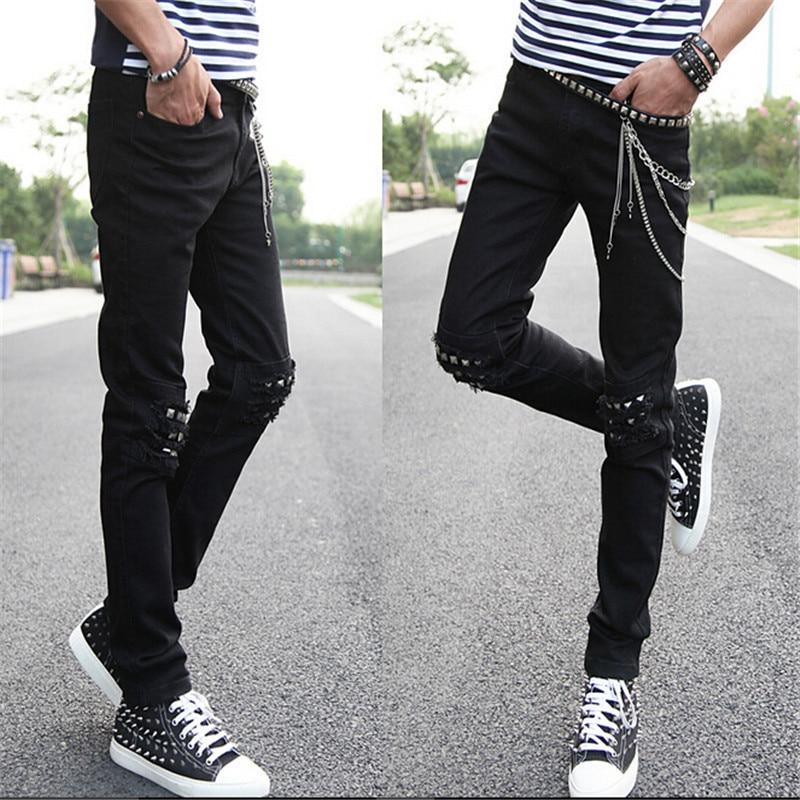 Plus Biker Pants Long Vintage Trousers Fashion Fit Chain Pencil Jeans Punk New 2017 Male Size Denim Slim Revit Men Hodisytian 3