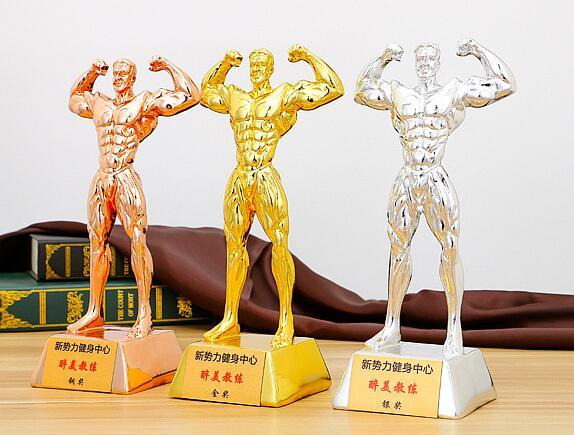 Coupe du monde résine plaqué or musculation trophée figure mâle muscle Hercules gym décoration placement artisanat cadeau