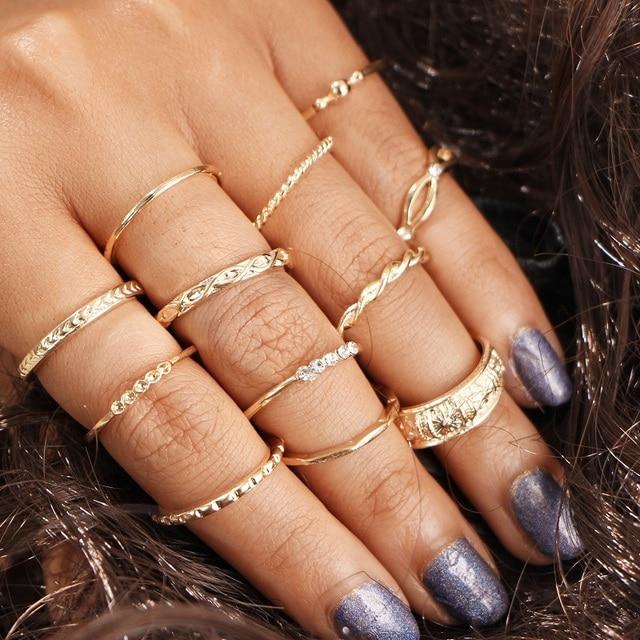 H:HYDE 12pcs/set Fashion Vintage Punk Midi Rings Set Antique Gold Color Boho Fem