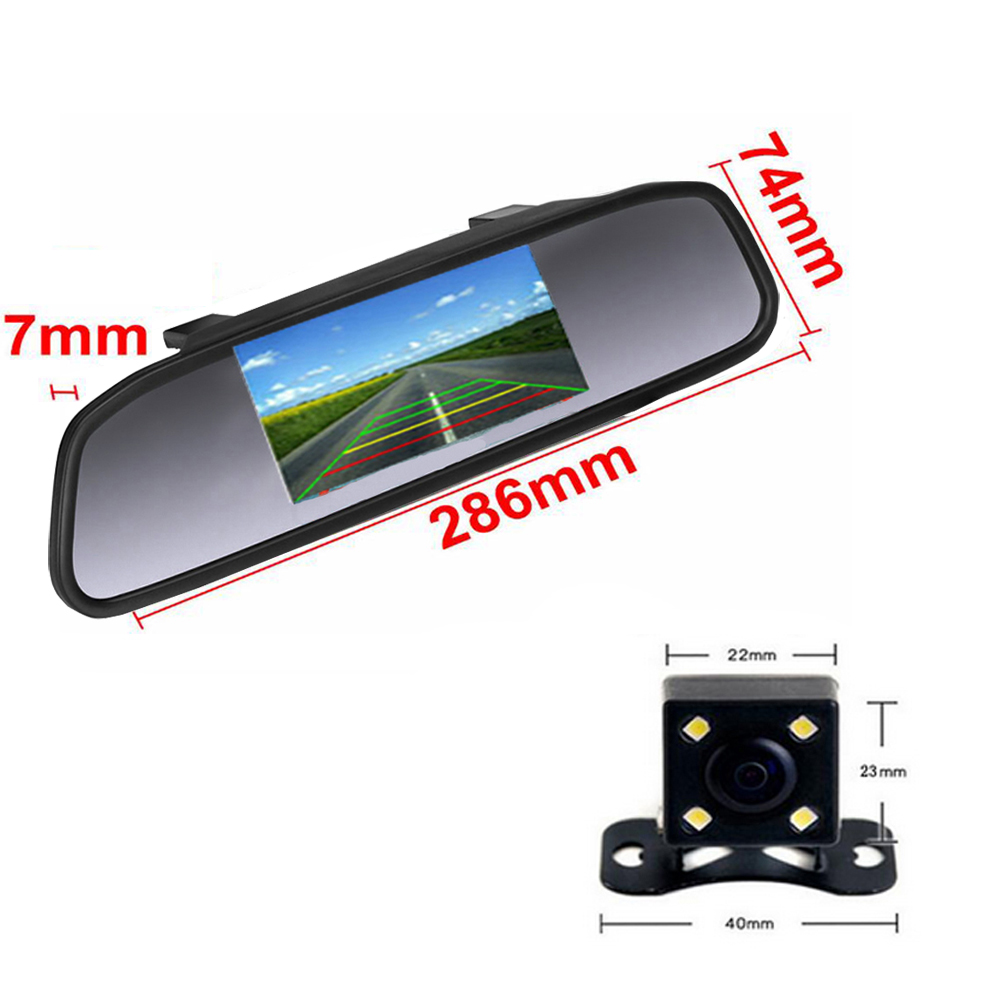 Image 2 - AMPrime 4.3 inch Car HD Rearview Mirror Monitor CCD Video Auto Parking Assistance LED Night Vision Reversing Rear View Camera-in Car Monitors from Automobiles & Motorcycles