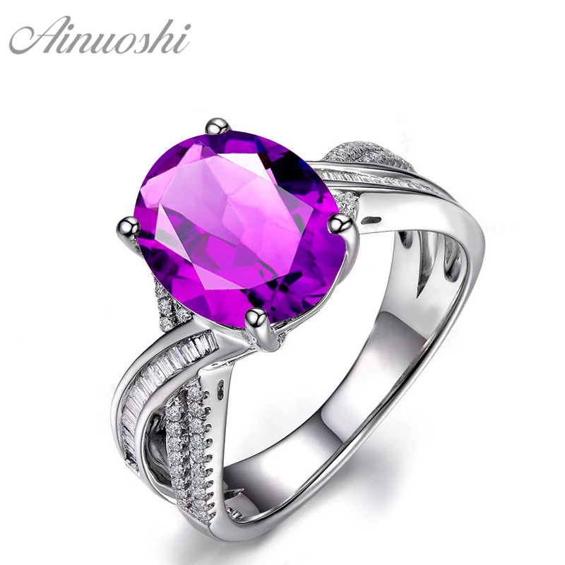 AINUOSHI Big Natural Amethyst Weave Ring 4 Carat Oval Cut Gems Pure 925 Sterling Silver Ring Engagement Party Jewelry Women RingAINUOSHI Big Natural Amethyst Weave Ring 4 Carat Oval Cut Gems Pure 925 Sterling Silver Ring Engagement Party Jewelry Women Ring
