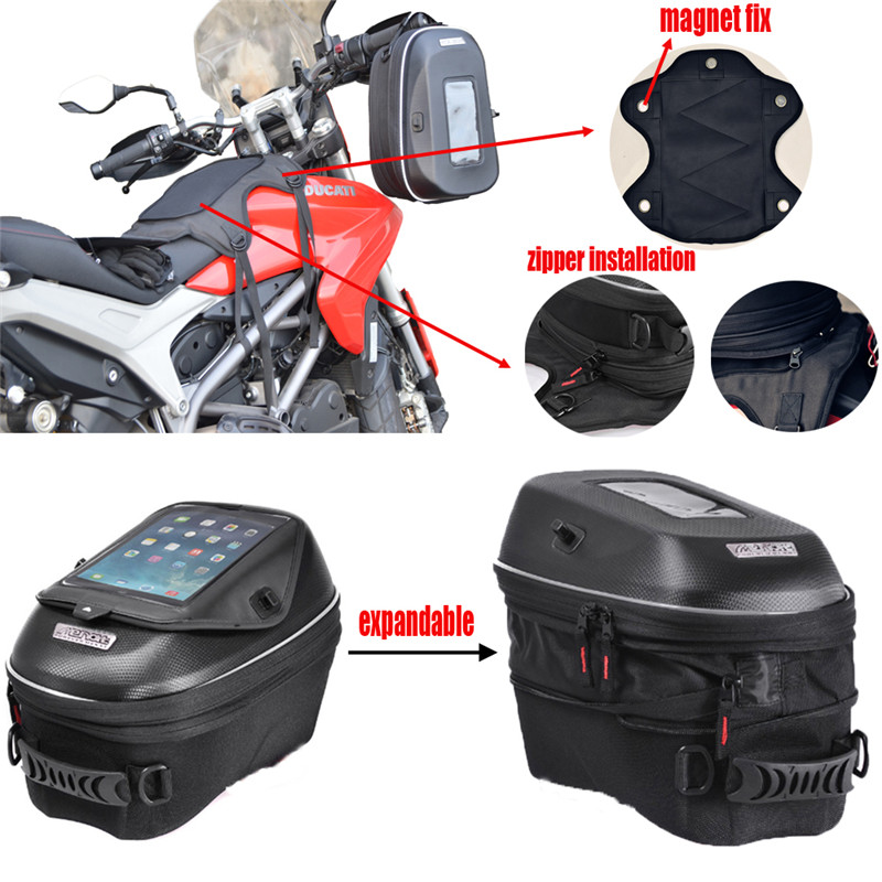 Motorcycle Mechanical Ring and Magnet Tank Bag Waterproof Racing Package Bags for Suzuki GSX R 600/750/650F/1250F motorcycle expandable magnet and mechanical ring fix tank bag racing backpack for benelli bn600 tre 899 k