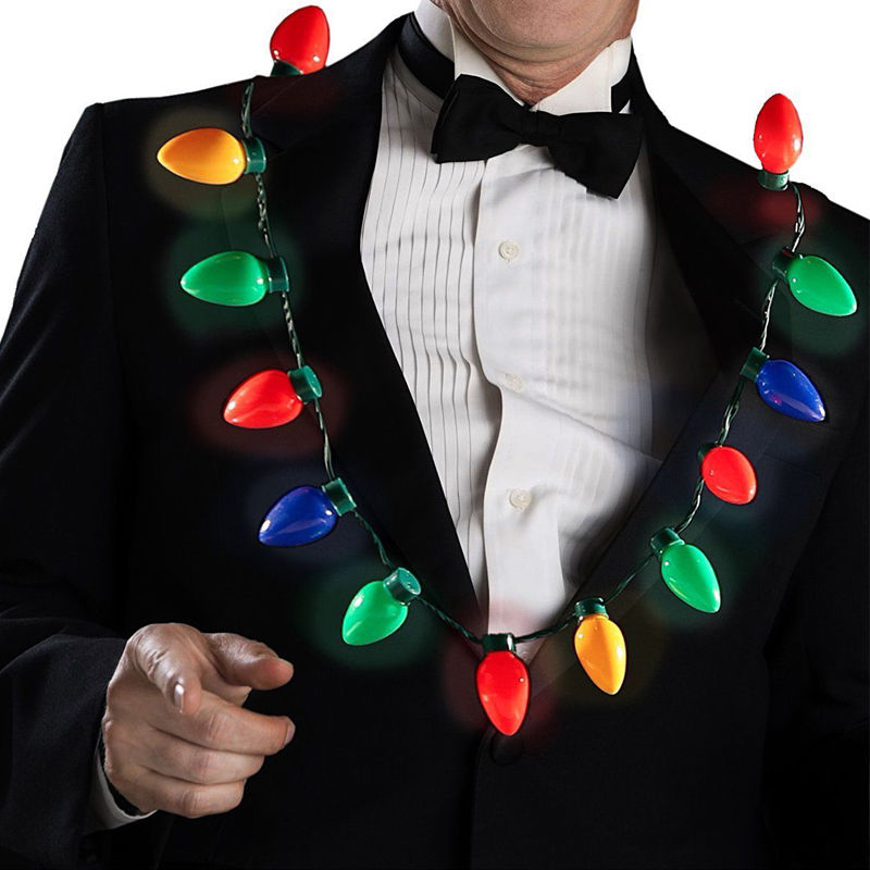 Led Light Up Christmas Bulb Necklace Glowing Party Favors