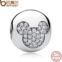Gift Sterling Silver 925 Whimsy Fun Mickey Pave Clip Charms And Beads Fit Pandora Bracelet Necklace