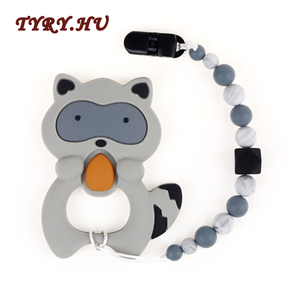TYRY.HU 1PC Silicone Teether Beads Baby Silicone Teething Beads Rubber Teething Ring Babies Pacifier Clips Raccoon With Holder цена 2017
