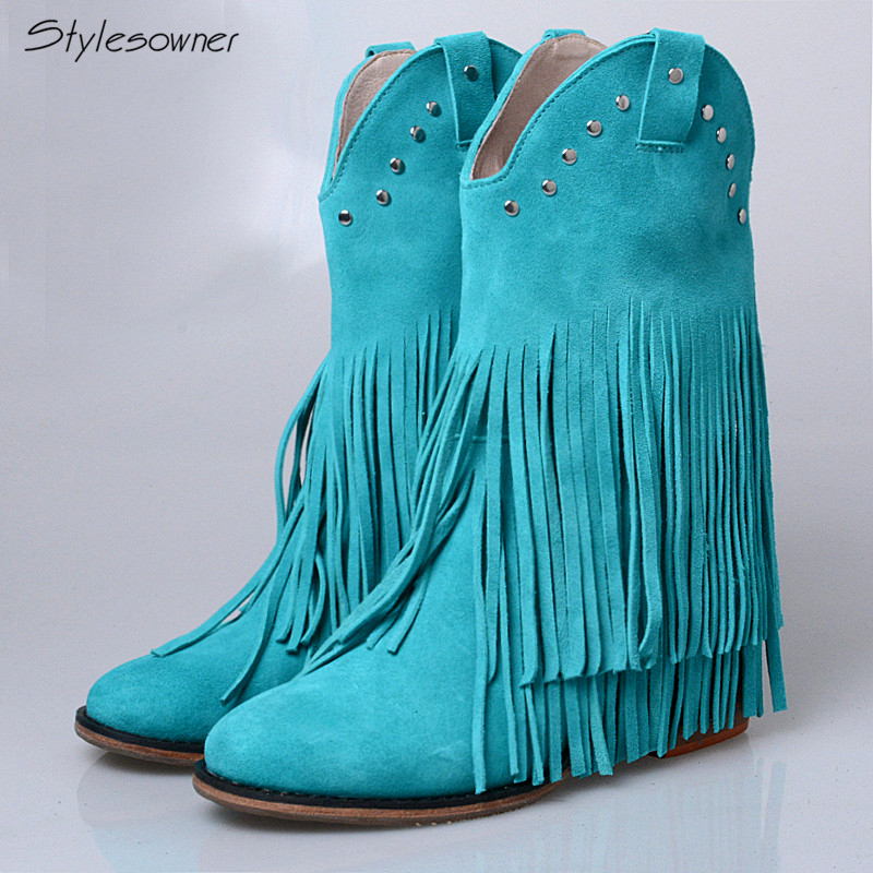 Stylesowner Fringe Around Cow Suede Boots Women Solid Color Rivets Slip On Convenience High Heels Warm For Female Shoes