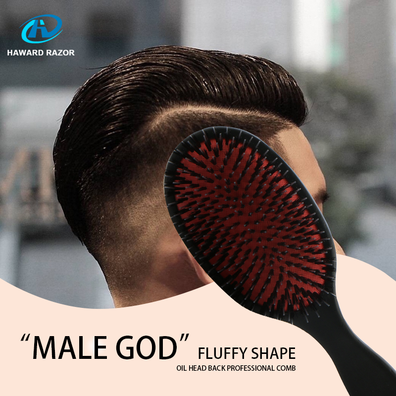 HAWARD Mens/Womens Large Oval Wooden Hair Paddle Brush,Scalp Massage Comb,Black