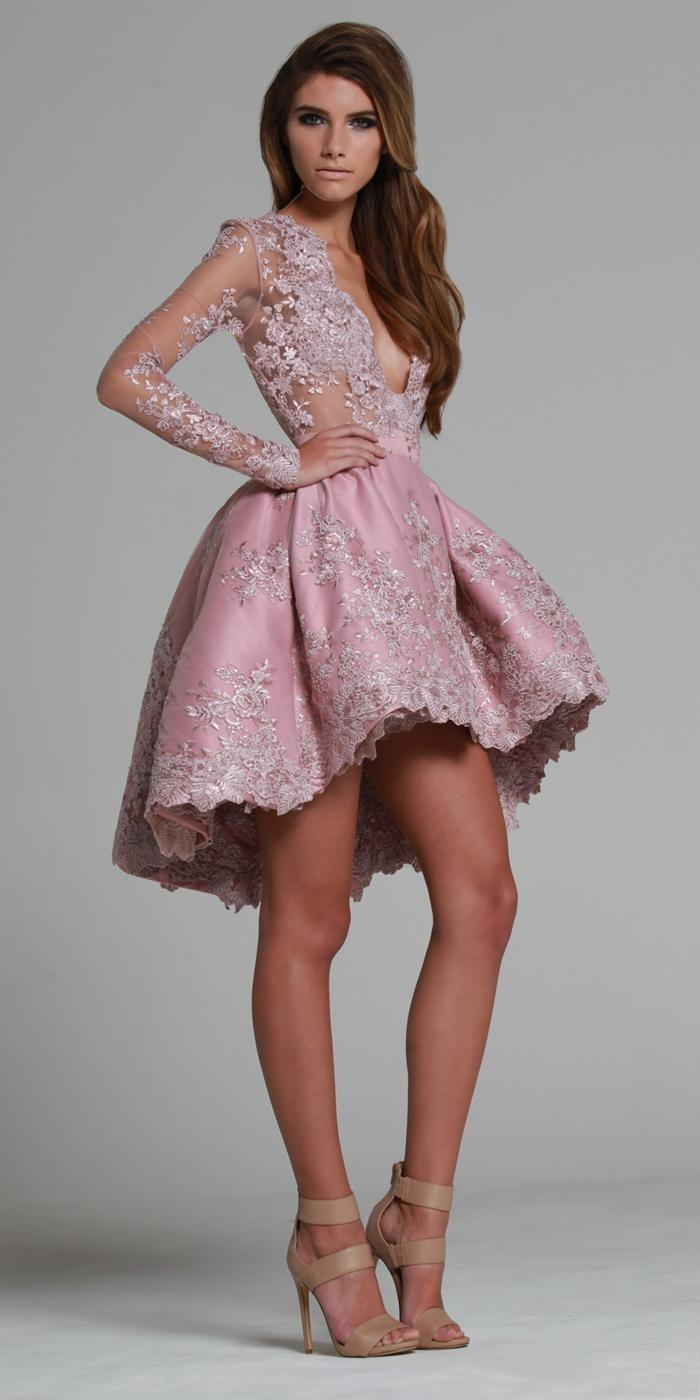 Pink 2019   Cocktail     Dresses   A-line V-neck Appliques Lace Elegant Hi Low Short Mini Party Homecoming   Dresses