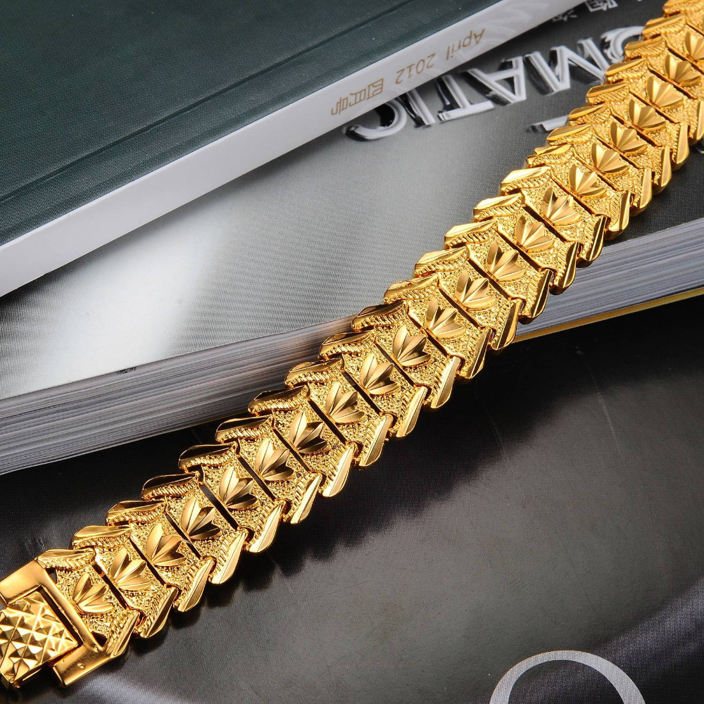 OPK Gold Color Charm Man Bracelets Bangles Classical 165mm Width