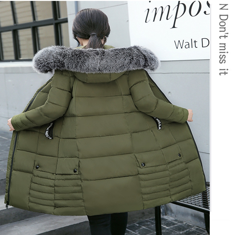 2017 NEW WOMEN WINTER JACKET X-LONG HOODED COAT THICKEN WARM FEMALE PARKAS COTTON PADDED FASHION LARGE  FUR COLLAR ZL481 new winter jacket coats 2017 women parkas long slim thicken warm jackets female large fur collar hooded cotton parkas cm1350