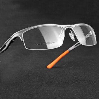 Ramki okularów dla mężczyzn okulary z przezroczystymi szkłami okulary optyczne krótkowzroczność okulary na receptę ramki metalowe pół ramki okulary męskie