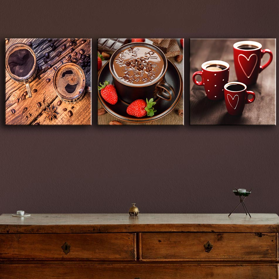 3 Pieces Paintings For Drinks_Coffee_Cup_Grain Wall Decor Modern Canvas Art  Wall Pictures For Dining Room Wine
