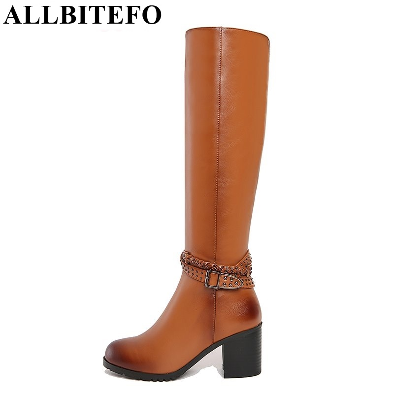 ФОТО ALLBITEFO size:33-43 genuine leather+pu fashion buckle women knee high boots high heels platform women boots winter snow boots