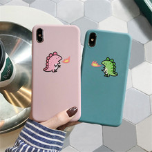 Cute dinosaur pattern couple frosted soft silicone phone case for iphone 6/7/8/X/XR/XS