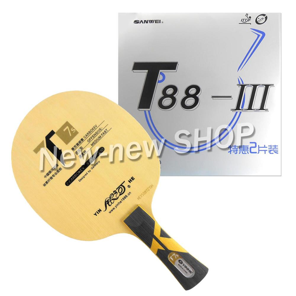 Galaxy YINHE T7s Blade with 2x Sanwei T88-III Rubbers for a Racket Shakehand long handle  FL
