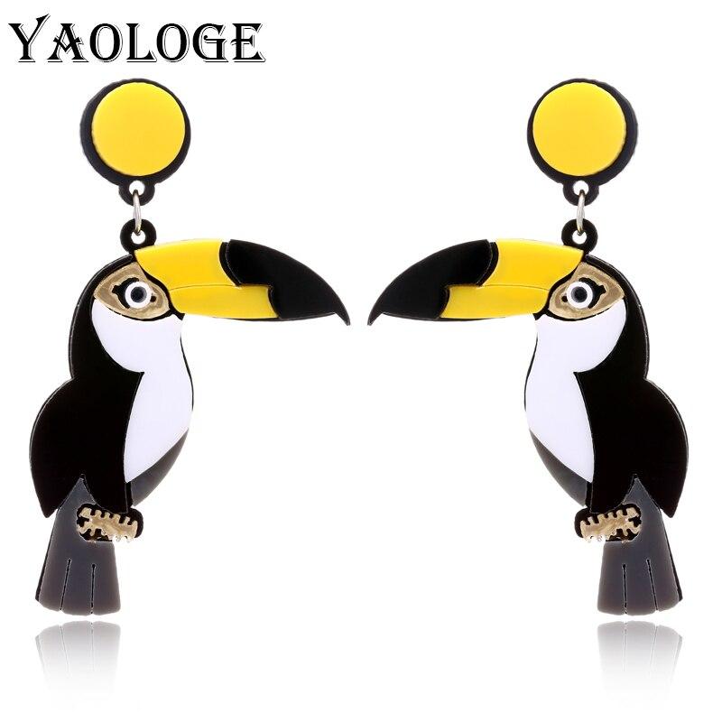 YAOLOGE Cute Bird Acrylic Parrot Drop Earring Punk Party Style Hip Hop Animal Earrings For Women Fashion Jewelry New