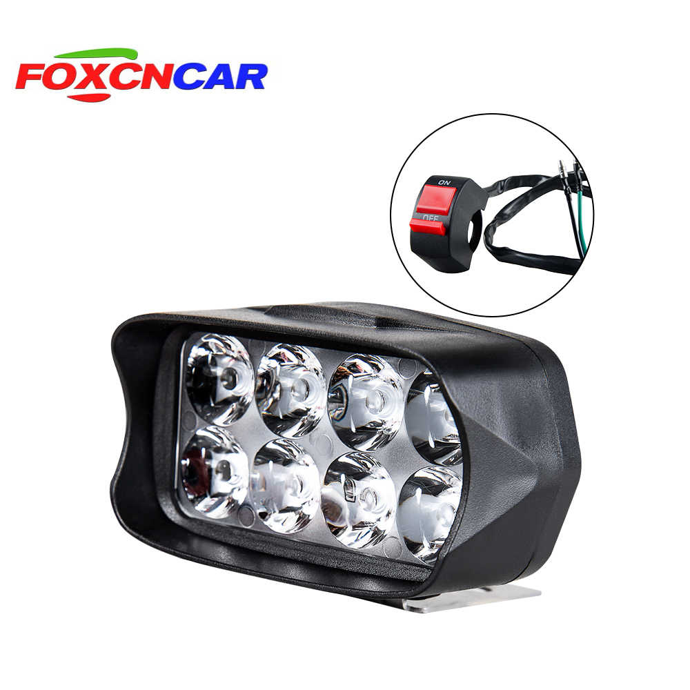 FOXCNSUN Motorcycle LED Headlight Fog Light 10W/15W/20W White Auto Bike Driving Work Spotlight Offroad Moto Lamp Accessories