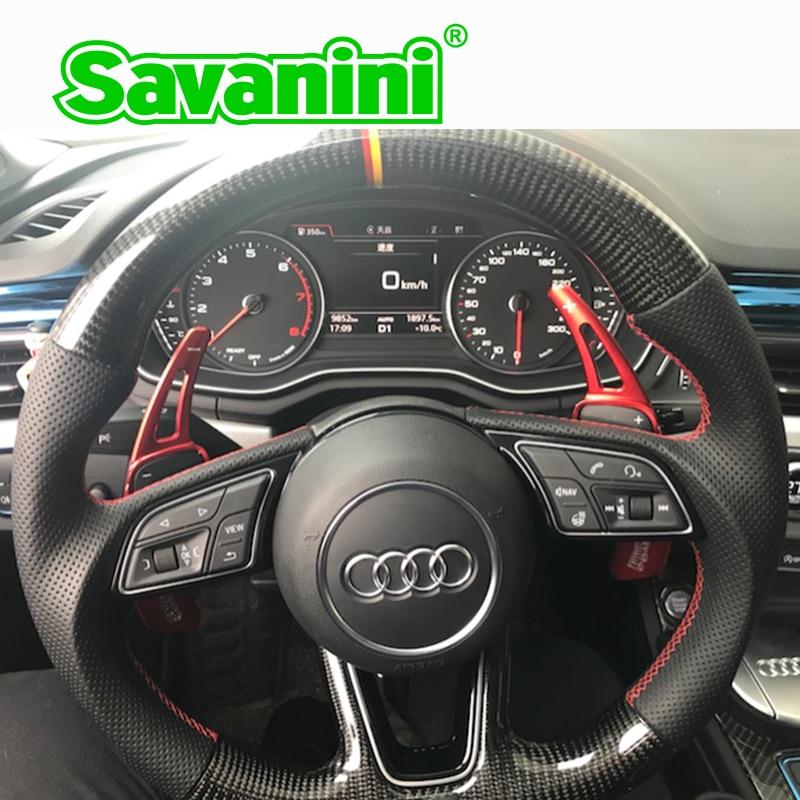Savanini Aluminum Steering Wheel DSG Shift Paddle Shifter Extension For Audi new TT(2015),TTS (2016),Q7(2016) auto car styling car styling 100% carbon fiber steering wheel paddle shifter extension trim for audi a3 a4 b9 a5 q7 tt tts q2 s3 s4 2017