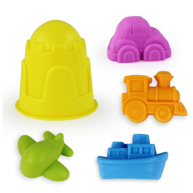 5PCS Set Transportation Sand Clay Tool Beach Toys Novelty Castle Mold Building Model For Kids Child Baby Out Fun Toys On Holiday