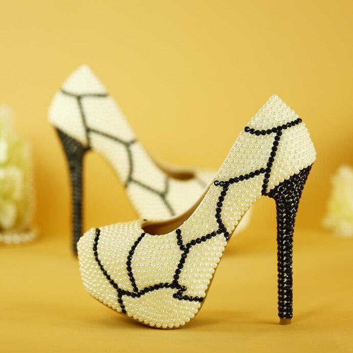 Imprimé léopard chaussures à talons hauts pour femmes noir blanc perle perceuse à eau imperméable table robe Paryt grande taille neutre à antique