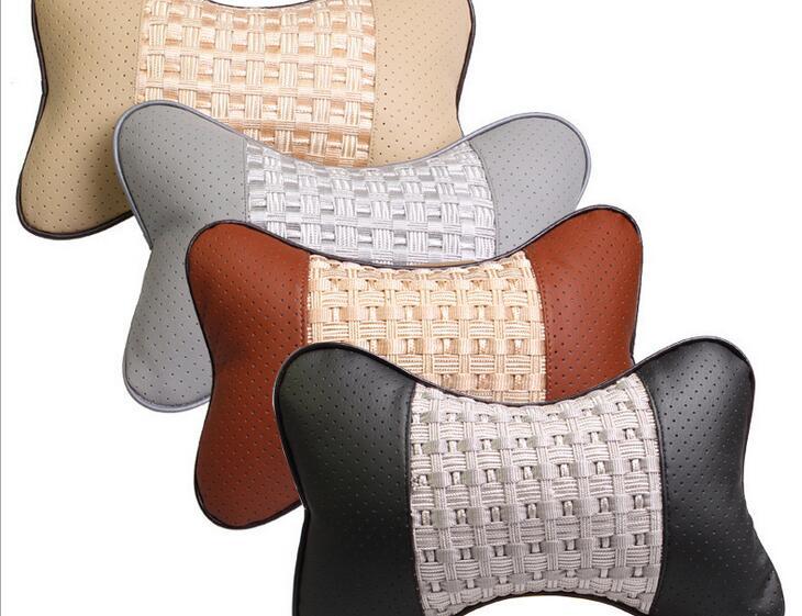 1pcs PU leather Car Headrest Neck Pillow Auto Seat Cover Head Neck Rest Cushion Headrest Pillow Automobiles Accessories