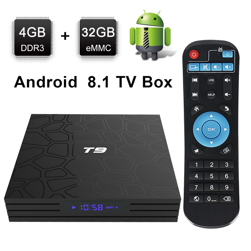 4 K tv box android 8.1 4 go ram 32 go rom t9 boîte android tv 8.1 RK3328 Quad Core Bluetooth4.0 H2.65 2.4/5 GHz WIFI décodeur