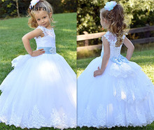 Real Picture White Flower Girl Dress for Wedding Lace Beading Little Princess Christmas Dress Ball Gown First Communion Dress