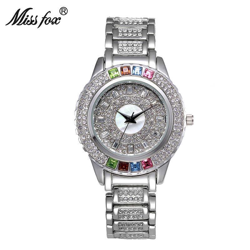 Miss Fox dames Designer montres de luxe montre femmes 2017 montre colorée avec cristaux diamant or et argent montre femmes magasin