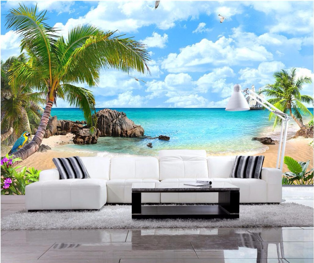 Custom photo 3d wallpaper Ocean view of the beach by the sea decoration painting 3d wall mural wallpaper for living room the custom of the country