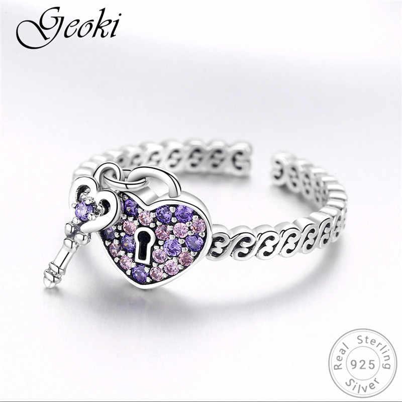 Geoki 925 argent Sterling coeur pavé violet cubique zircone porte-clés Original S925 timbre romantique anneaux à la mode marque bijoux