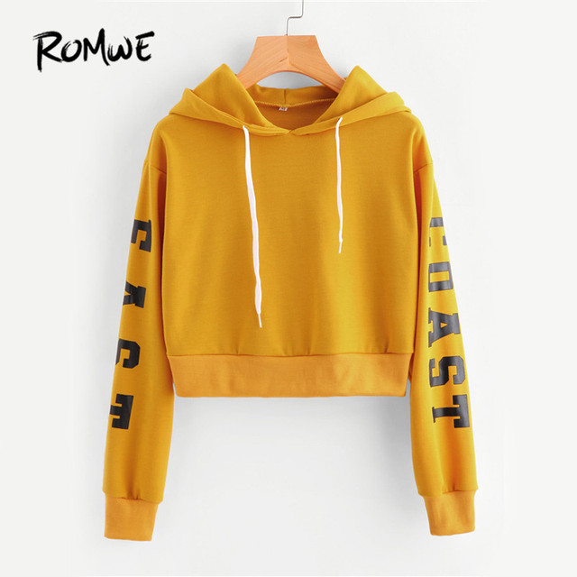 Romwe letters print cropped hoodies women yellow sexy for Letters for sweatshirts