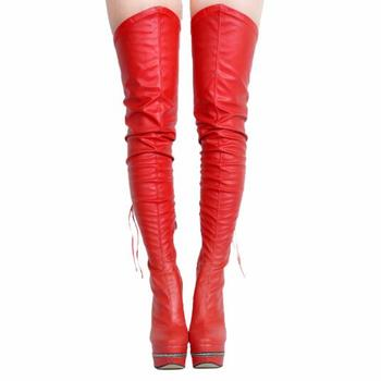Gullick Over The Knee Streched Platform Boots Women 14.5CM High Thin Heels 4CM Platform Zip Decor High Quality Shoes Big Size
