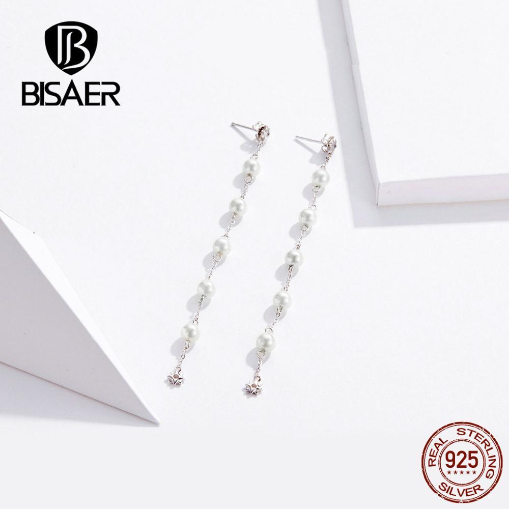 BISAER New 925 Sterling Silver Minimalism Earrings Long Tassel Pearl Drop Earrings For Women Wedding Party Luxury Jewelry GAE185