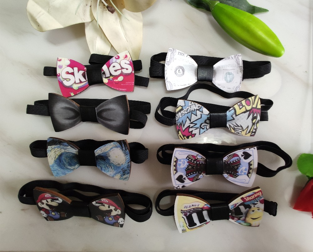Creative Wooden Bowtie Gentleman Bow Ties Handmade  Pattern Tie Party Bow Ties Butterfly Wooden Unique Tie For Man Woman
