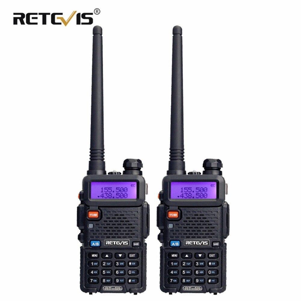 2 шт. RETEVIS RT5R портативная рация 5 Вт УКВ UHF двухдиапазонный двухсторонний радио коммуникатор радиостанции VOX FM трансивер Рации