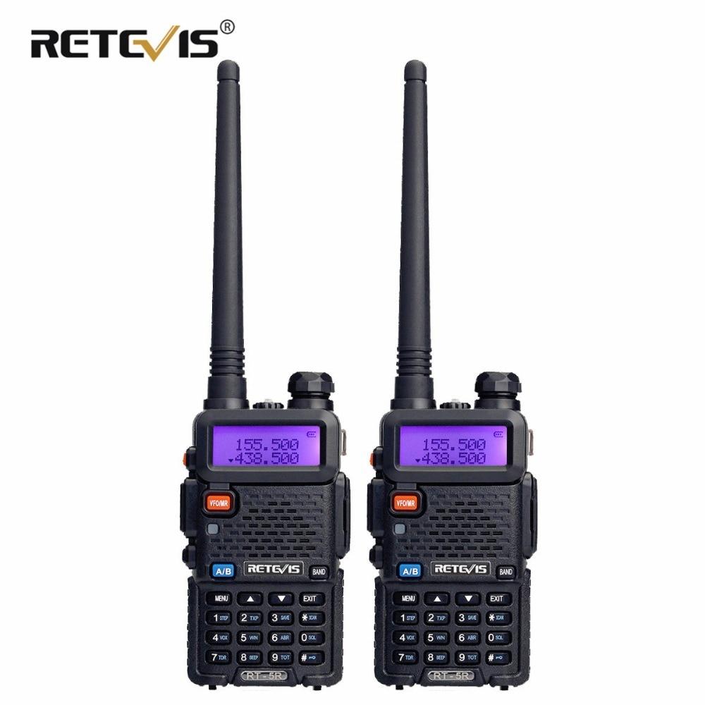 2 pcs RETEVIS RT5R Portable Talkie Walkie 5 w VHF UHF Dual Band Two Way Radio Communicateur VOX FM Radio émetteur-récepteur Talkies-walkies