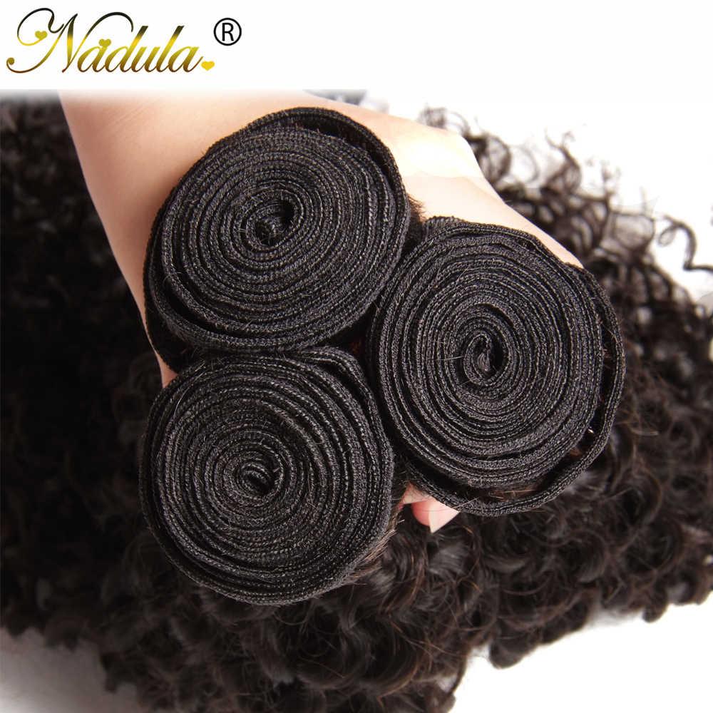 Nadula Hair 3 uds. Pelo rizado brasileño teje 3 mechones extensiones de cabello brasileño Color Natural Remy extensiones de pelo ondulado mechones