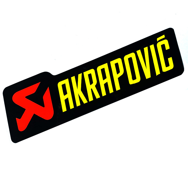 1pcs FASP Akrapovic MotogpFluorescent Yellow & Red Color LOGO Decal Stickers For Motorcycle Refrigerator Glass