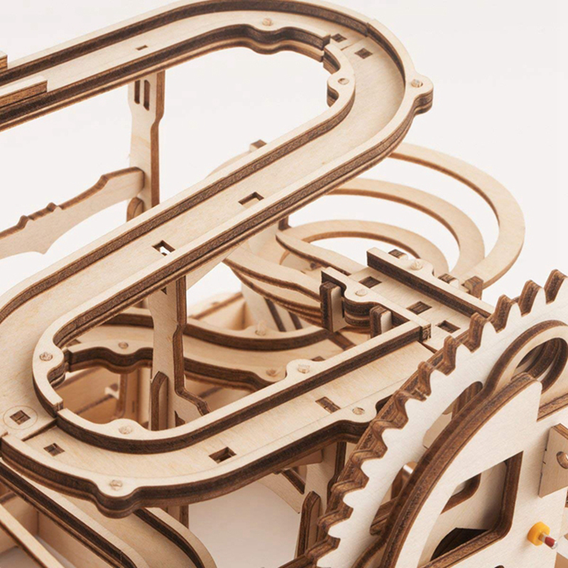 Image 5 - ROKR DIY Marble Run Game 3D Wooden Puzzle Gear Drive Waterwheel Coaster Model Building Kit Toys for Children Adult LG501-in Model Building Kits from Toys & Hobbies