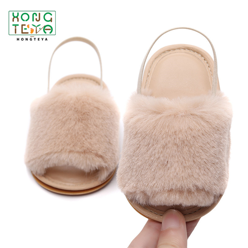 Baby Summer Cute Infant Girls Shoes Faux Fur Summer Soft Hair Style Classic Baby Girl Slipper Sandals Hard Sole Beach Shoes