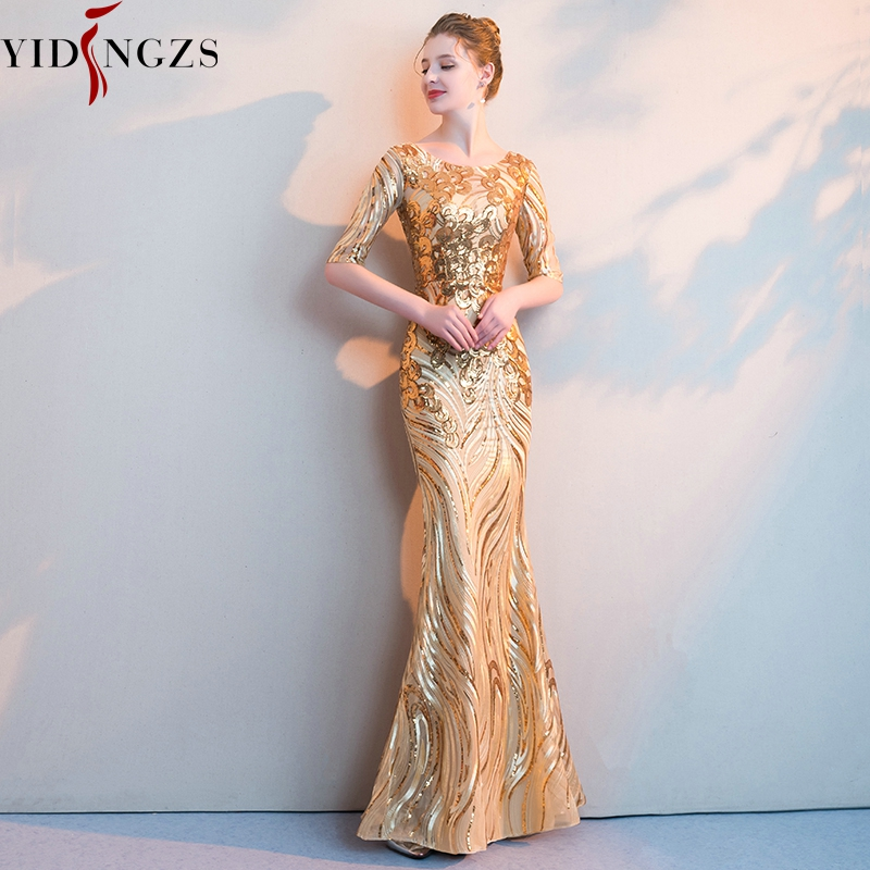YIDINGZS Luxury Gold Long Sequins   Evening     Dresses   Half Sleeve Mermaid Prom Party Formal   Dresses
