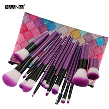 MAANGE 15/16Pcs Cosmetic Makeup Brushes Tool Set Power Foundation Contour Blending Blush Eye Shadow Beauty Make Up Brush Bag D2