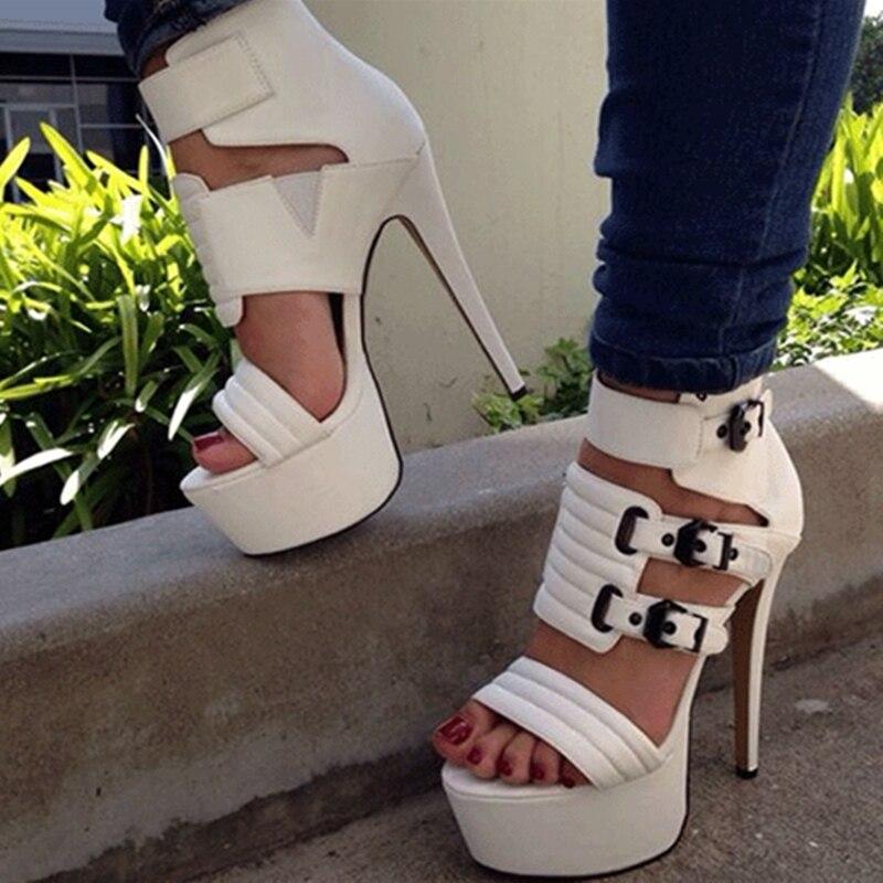 Blanco Sandalias Abierta Verano Europa Real Foto De Las Punta Mujeres Alto Zapatos Mujer Pu Para 10 Tacón Cómodo dCwq1d