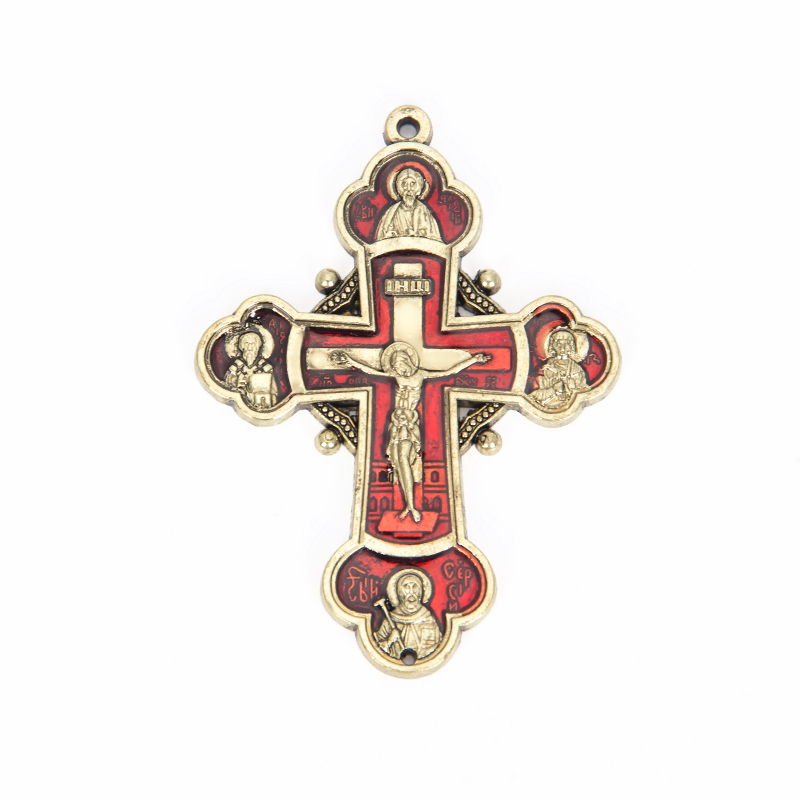 2019 New Top Fashion Classic Collares Kolye Jewelry Men Rose Gold Color Russian Orthodox Jesus Pendants 75x45mm