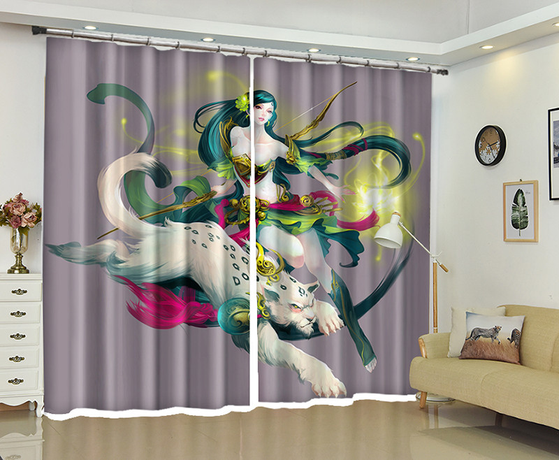 Female warrior Window 3D Curtains Drapes For Bedroom Living room Office Hotel Home Decorative Wall Tapestry Custom SizeFemale warrior Window 3D Curtains Drapes For Bedroom Living room Office Hotel Home Decorative Wall Tapestry Custom Size