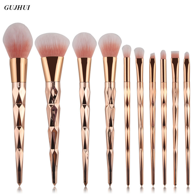 10PCS Pro Rose gold Makeup Brushes Sets Eyebrow Eyeshadow Eyeliner Lip Blush Brush Powder Foundation Hair Brush cleaner Cosmetic 1 4pcs cosmetic makeup brushes set eyebrow eyeliner eyelashes lip makeup brush kits eyeshadow blush brushes pinceis de maquiagem