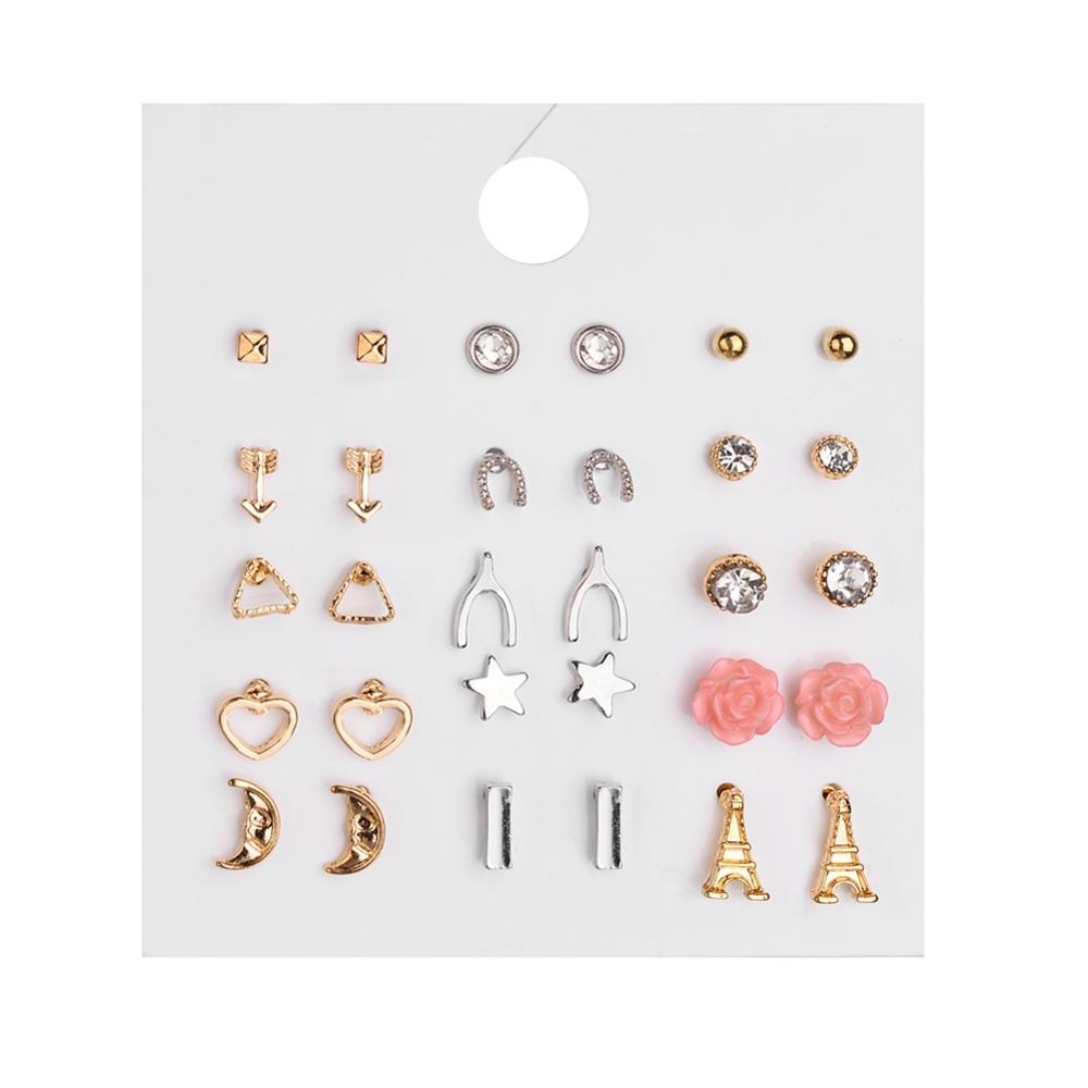 New Hot Jewelry Romantic Pink Flower Earrings Creative Iron Alloy Zircon for Women Gift