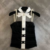 Summer Sexy Shirts Women 2019 New Bow Decoration Shoulder Strap Pearl Sexy Crop Top Lady Slim Blouse Blusas Tops Female Camisole